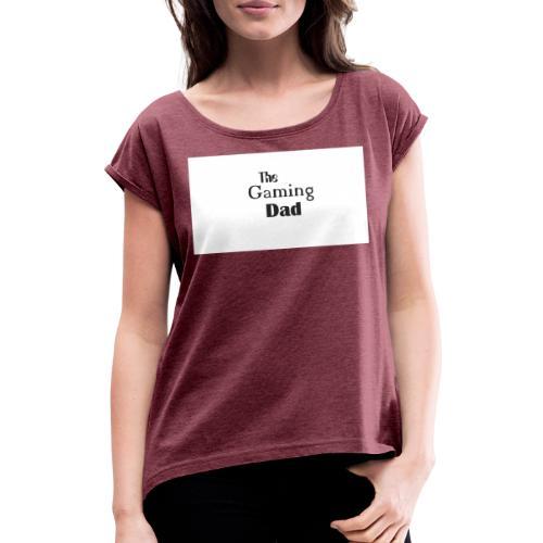 gaming dad - Frauen T-Shirt mit gerollten Ärmeln