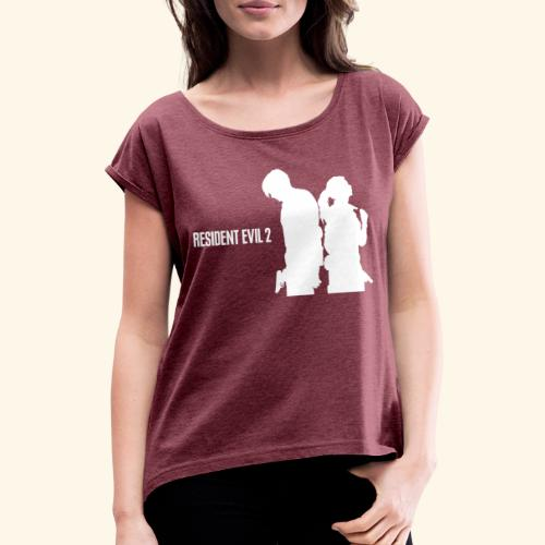 RE2 Leon Claire Logo Design - Women's T-Shirt with rolled up sleeves
