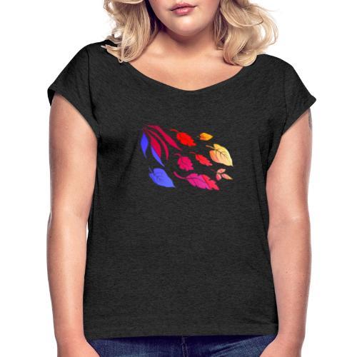 Natur Blätter Regenbogen - Frauen T-Shirt mit gerollten Ärmeln