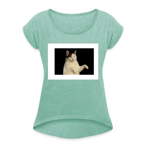 Kitty cat - Vrouwen T-shirt met opgerolde mouwen