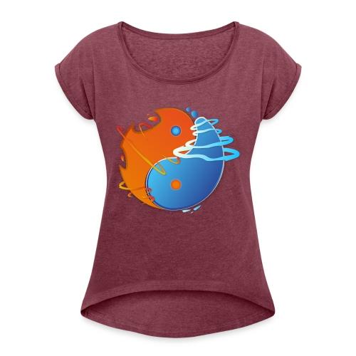 Ying-yang feu et glace - T-shirt à manches retroussées Femme