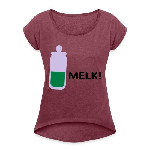 Grappige Rompertjes: Melk - Vrouwen T-shirt met opgerolde mouwen