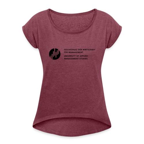 Logo_SW - Frauen T-Shirt mit gerollten Ärmeln