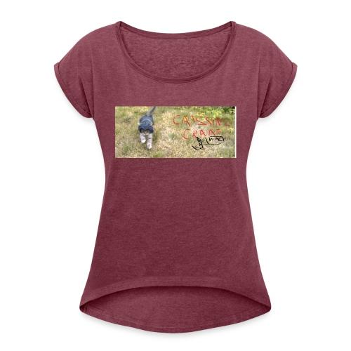 catssin's craat - Koszulka damska z lekko podwiniętymi rękawami