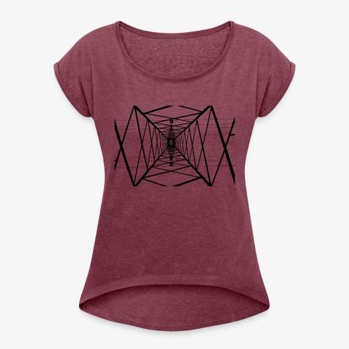 Quermast V2 Schwarz - Frauen T-Shirt mit gerollten Ärmeln