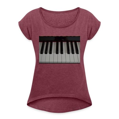 Piano - Vrouwen T-shirt met opgerolde mouwen
