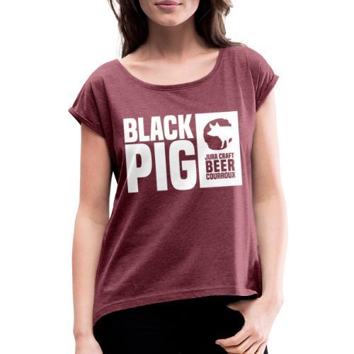 BlackPig Horizontal Blanc - T-shirt à manches retroussées Femme