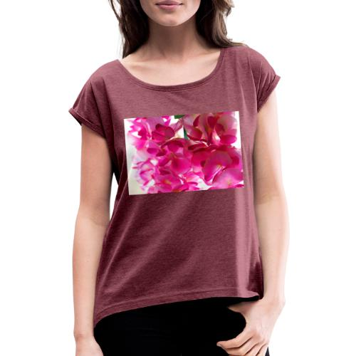 Cotton flowers. - Camiseta con manga enrollada mujer
