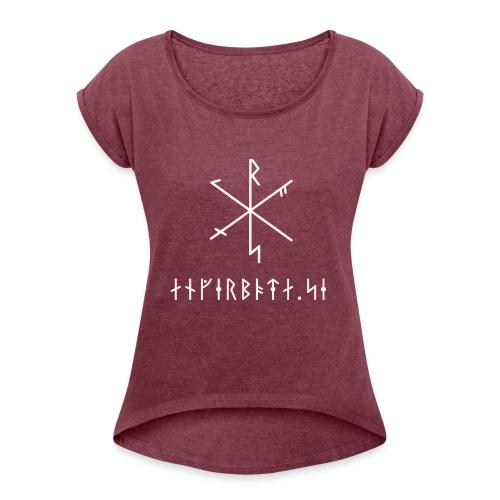 Angerboda logo med bindruna - T-shirt med upprullade ärmar dam
