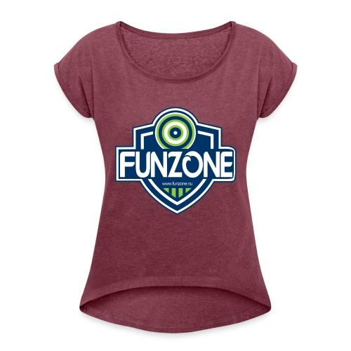 Funzone_logo_ljus_bakgrund - T-shirt med upprullade ärmar dam