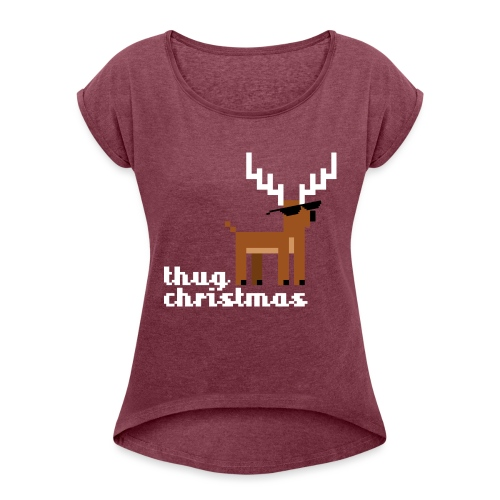 Christmas Xmas Deer Pixel Funny - Women's T-Shirt with rolled up sleeves