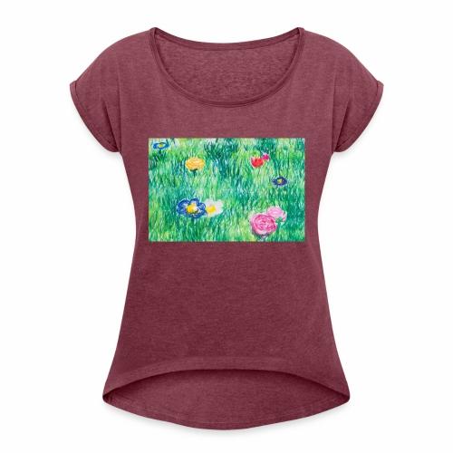 Blumenwiese - Frauen T-Shirt mit gerollten Ärmeln
