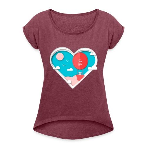 Koszulka miłość 12 - Koszulka damska z lekko podwiniętymi rękawami