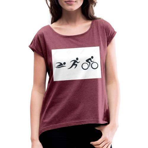swim bike run - Frauen T-Shirt mit gerollten Ärmeln