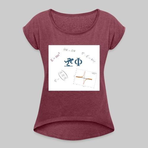 Der Freilaufende Physiker - NUR LOGO - Frauen T-Shirt mit gerollten Ärmeln