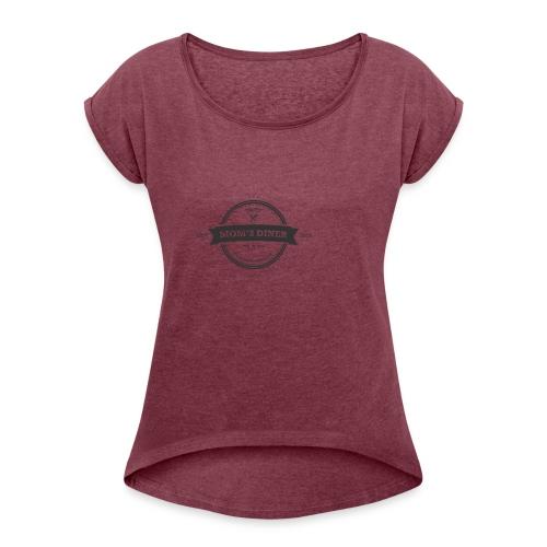 MomsDinner Logo Darkgray - Frauen T-Shirt mit gerollten Ärmeln