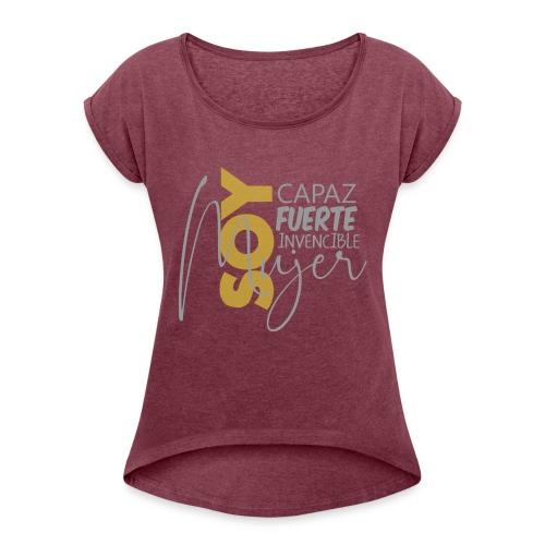 mujer - Camiseta con manga enrollada mujer