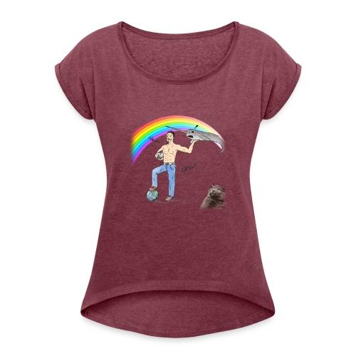 Guillaume le week-end (avec un chat) - T-shirt à manches retroussées Femme