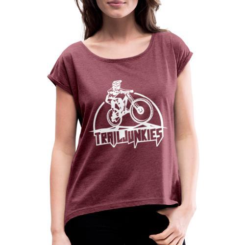 Trailjunkies Downhill - Frauen T-Shirt mit gerollten Ärmeln