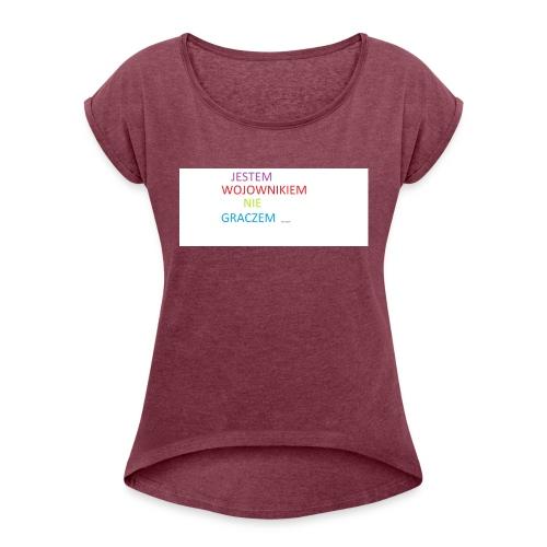 kim jesteś - Koszulka damska z lekko podwiniętymi rękawami