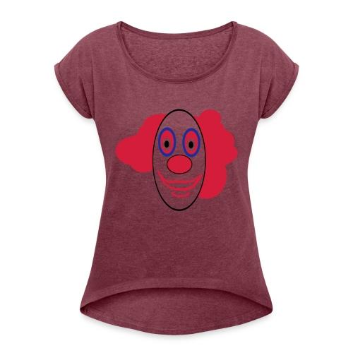 Lustiges clownsgesicht - Frauen T-Shirt mit gerollten Ärmeln