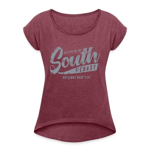 ETELÄRANNIKKO, SOUTH COAST HELSINKI COOL T-SHIRTS - Naisten T-paita, jossa rullatut hihat