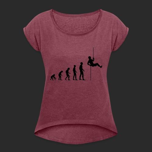 Climbing Evolution - Frauen T-Shirt mit gerollten Ärmeln