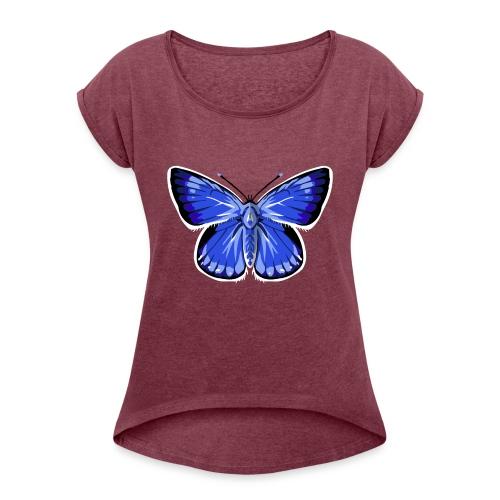 vlinder2_d - Vrouwen T-shirt met opgerolde mouwen