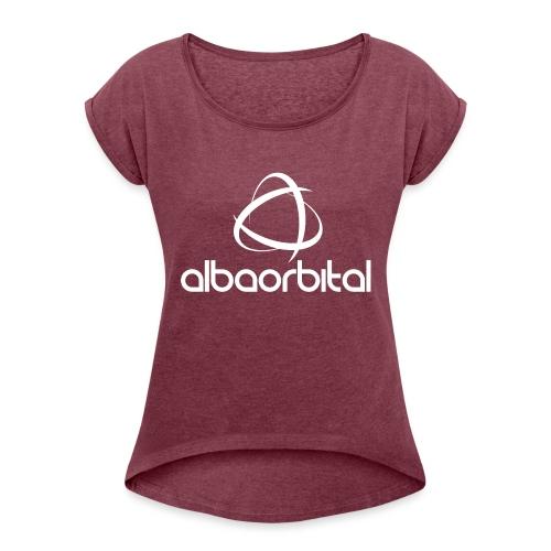 Alba Orbital Logo - White - Women's T-Shirt with rolled up sleeves