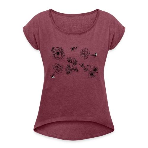 Floral Black and White - T-shirt med upprullade ärmar dam