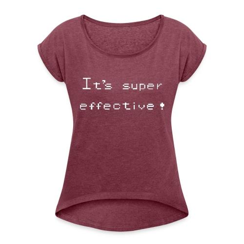 its super effective white - Dame T-shirt med rulleærmer
