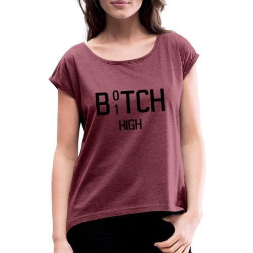 B01TCHIGH - T-skjorte med rulleermer for kvinner