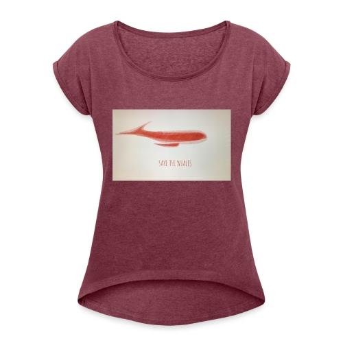 SAVE THE WHALES - Maglietta da donna con risvolti