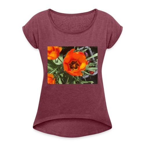 Tulpe - T-shirt med upprullade ärmar dam