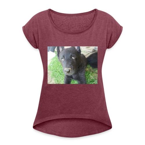 Hundewelpe - Frauen T-Shirt mit gerollten Ärmeln