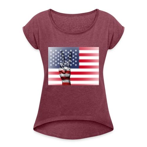 USA - Frauen T-Shirt mit gerollten Ärmeln