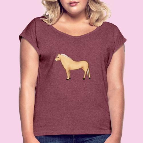Fjordhäst stående - T-shirt med upprullade ärmar dam