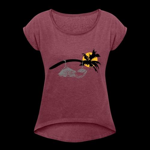Entspannung bei Nacht - Frauen T-Shirt mit gerollten Ärmeln