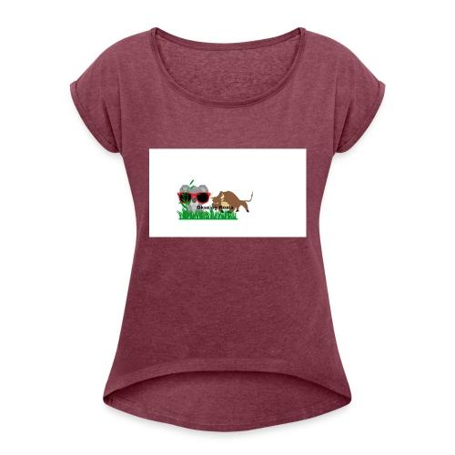 YOUTUBE_OKSE_OG_KOALA - T-skjorte med rulleermer for kvinner