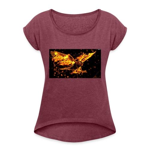 Ognisty Orzeł - Koszulka damska z lekko podwiniętymi rękawami