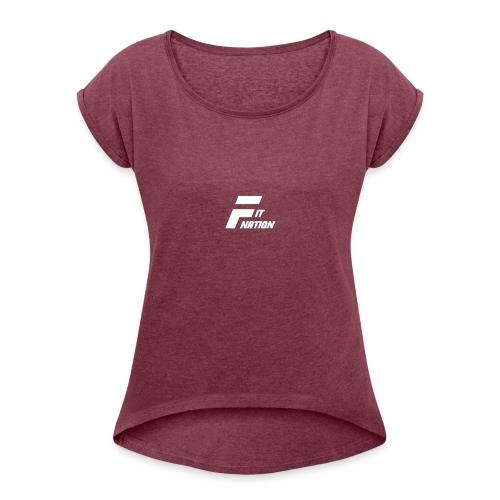 FitNation White - Camiseta con manga enrollada mujer