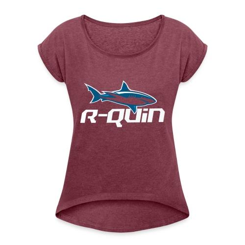 400dpiLogoCropped BLEU BLANC - T-shirt à manches retroussées Femme