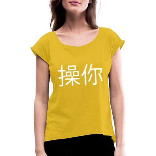 Kina White - Dame T-shirt med rulleærmer