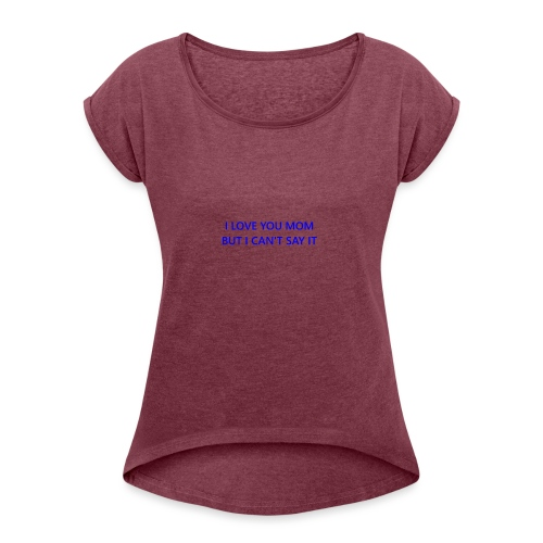 lovemom - Camiseta con manga enrollada mujer