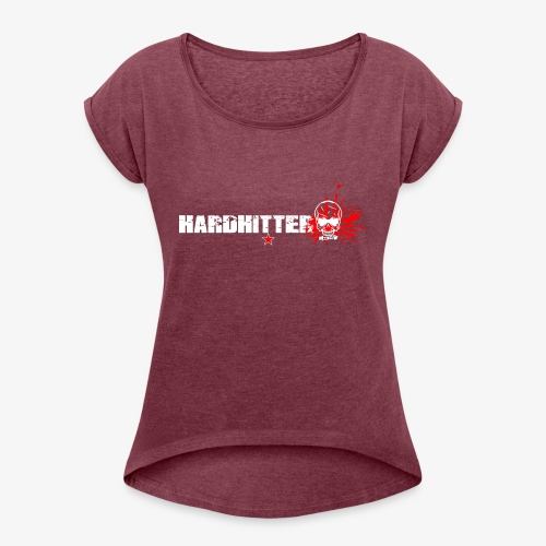 Hardhitter Logo für dunklen Hintergrund - Frauen T-Shirt mit gerollten Ärmeln