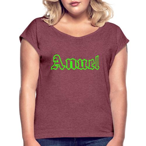 ANuel Fluor Green - Camiseta con manga enrollada mujer