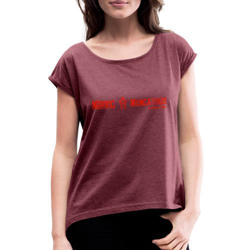 Rød logo, lang - T-skjorte med rulleermer for kvinner