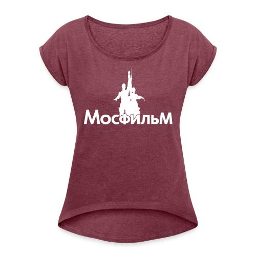 MosfilmLogoBlanco - Camiseta con manga enrollada mujer