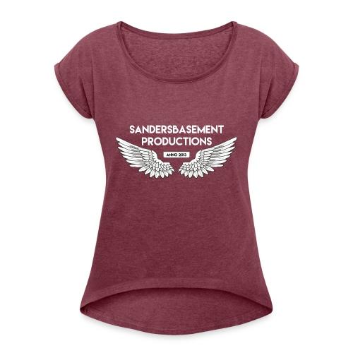 T SHIRT logo wit png png - Vrouwen T-shirt met opgerolde mouwen