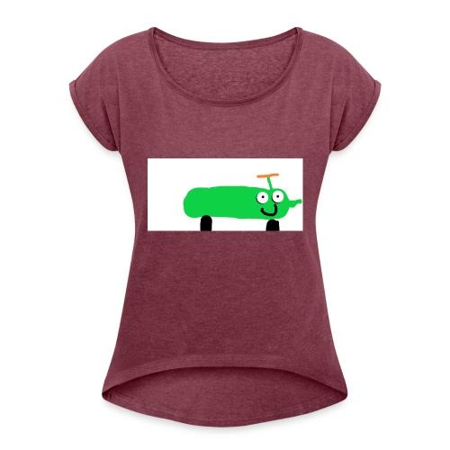 kurkkumopo - Naisten T-paita, jossa rullatut hihat